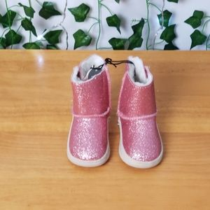 Baby Girls Pink Sparkly Faux Fur Boots